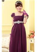 大尺码~高档精美大钻石链收腰高贵长裙(紫色)
