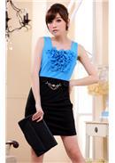 大尺码~OL撞色木耳包臀显瘦连身裙(蓝色)