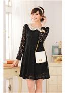 大尺码~高贵蕾丝娃娃领长袖连身裙(黑色)