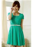 大尺码~单排扣收腰显瘦大摆连身裙(绿色)