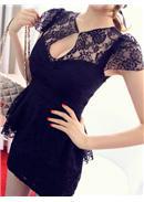 大尺码~甜美蕾丝性感魅力显瘦上衣(黑色)