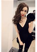 大尺码~性感V领OL气质修身长上衣(黑色)