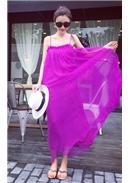 性感吊带露背孕妇裙(紫红)