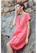 短袖休闲孕妇连身裙(西瓜红)