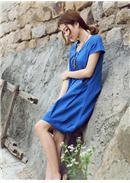 短袖休闲孕妇连身裙(蓝色)
