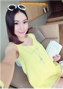 V领背心+托腹孕妇裤(黄色)
