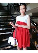 简洁无袖雪纺孕妇连身裙(红色)