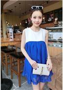 简洁无袖雪纺孕妇连身裙(蓝色)