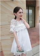 蕾丝短袖雪纺连身裙(白色)
