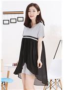 不规则飘逸雪纺棉质连身裙(黑色)