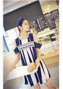 名族风线条露肩连身裙(蓝色)