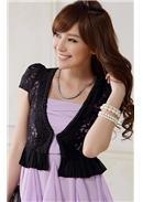 大尺码~高贵定珠短袖蕾丝短外套(黑色)