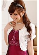 晚宴婚纱百搭蕾丝短外套(白色)