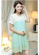 立体绣花孕妇连身裙(绿色)